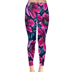 Purple Flowers Leggings  by Brittlevirginclothing
