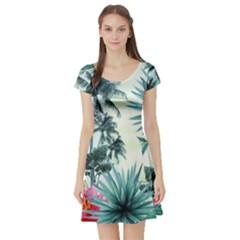 Grey Flowers Short Sleeve Skater Dress by Brittlevirginclothing