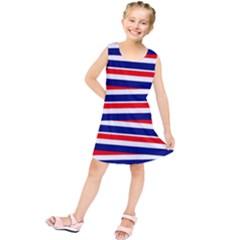 Red White Blue Patriotic Ribbons Kids  Tunic Dress