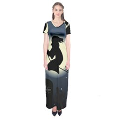 Halloween Card With Witch Vector Clipart Short Sleeve Maxi Dress by Nexatart