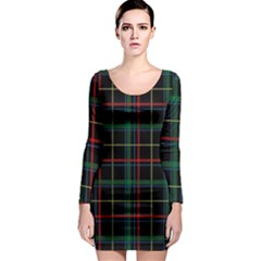 Plaid Tartan Checks Pattern Long Sleeve Bodycon Dress by Nexatart