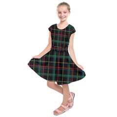 Plaid Tartan Checks Pattern Kids  Short Sleeve Dress