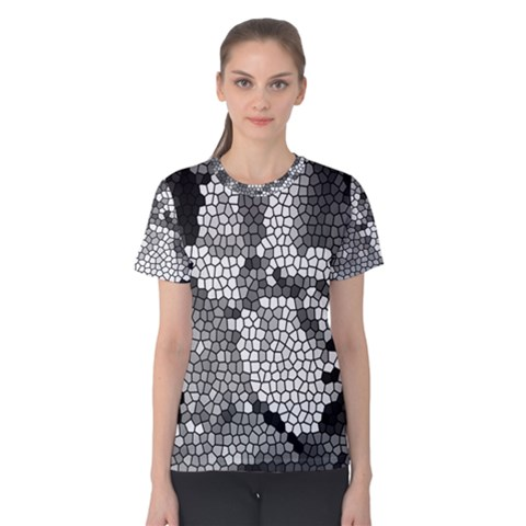 Mosaic Stones Glass Pattern Women s Cotton Tee by Nexatart