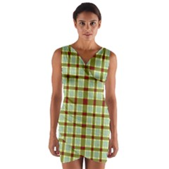 Geometric Tartan Pattern Square Wrap Front Bodycon Dress by Nexatart