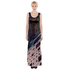 Industry Fractals Geometry Graphic Maxi Thigh Split Dress by Nexatart