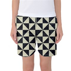 Triangle1 Black Marble & Beige Linen Women s Basketball Shorts by trendistuff