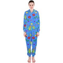 Cute Butterflies And Flowers Pattern   Blue Hooded Jumpsuit (ladies)  by Valentinaart