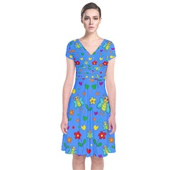 Cute Butterflies And Flowers Pattern   Blue Short Sleeve Front Wrap Dress by Valentinaart