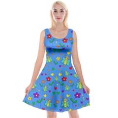 Cute Butterflies And Flowers Pattern   Blue Reversible Velvet Sleeveless Dress by Valentinaart