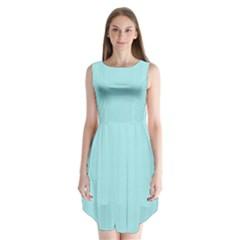 Light Blue Texture Sleeveless Chiffon Dress   by Valentinaart