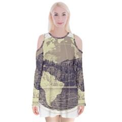 River Globe Velvet Long Sleeve Shoulder Cutout Dress by MTNDesignco