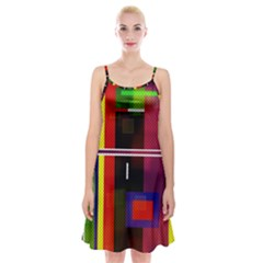 Abstract Art Geometric Background Spaghetti Strap Velvet Dress by Nexatart
