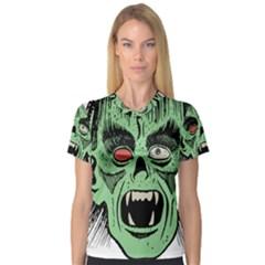 Zombie Face Vector Clipart Women s V Neck Sport Mesh Tee by Nexatart