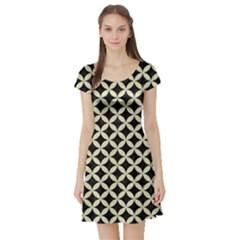 Circles3 Black Marble & Beige Linen Short Sleeve Skater Dress by trendistuff