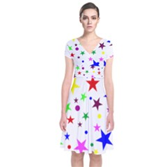 Stars Pattern Background Colorful Red Blue Pink Short Sleeve Front Wrap Dress by Nexatart