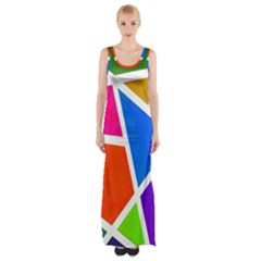 Geometric Blocks Maxi Thigh Split Dress
