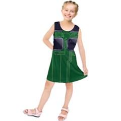 Green Circuit Board Pattern Kids  Tunic Dress by Nexatart