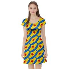 Images Album Heart Frame Star Yellow Blue Red Short Sleeve Skater Dress by Jojostore
