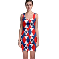 Patriotic Red White Blue 3d Stars Sleeveless Bodycon Dress by Nexatart