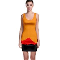 Sunset Orange Simple Minimalis Orange Montain Sleeveless Bodycon Dress by Jojostore