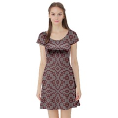 Simple Indian Design Wallpaper Batik Short Sleeve Skater Dress