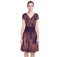 Silhouette Of Circus People Short Sleeve Front Wrap Dress