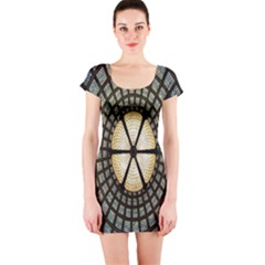 Stained Glass Colorful Glass Short Sleeve Bodycon Dress by Nexatart