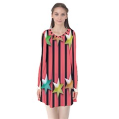 Star Christmas Greeting Flare Dress by Nexatart