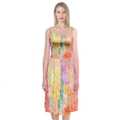 Watercolour Watercolor Paint Ink  Midi Sleeveless Dress