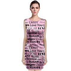 Valentine Love Heart Roses Sweet Pink Classic Sleeveless Midi Dress by Jojostore