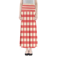 Gingham Red Plaid Maxi Skirts by Jojostore