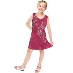 Leaf Flower Red Kids  Tunic Dress