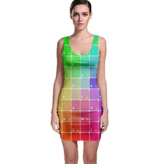 Number Alphabet Plaid Sleeveless Bodycon Dress by Jojostore