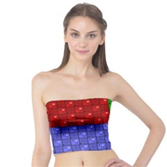Number Plaid Colour Alphabet Red Green Purple Orange Tube Top by Jojostore