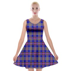 Tartan Fabric Colour Blue Velvet Skater Dress by Jojostore