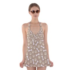 Background Bones Small Footprints Brown Halter Swimsuit Dress