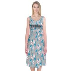 Animals Deer Owl Bird Bear Grey Blue Midi Sleeveless Dress