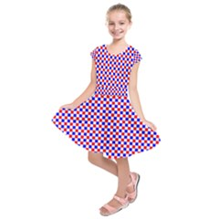 Blue Red Checkered Plaid Kids  Short Sleeve Dress by Jojostore