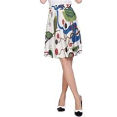 Bird Green Swan A Line Skirt by Jojostore