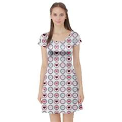 Circle Love Heart Purple Pink Blue Short Sleeve Skater Dress