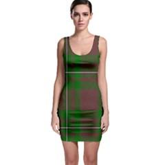 Cardney Tartan Fabric Colour Green Sleeveless Bodycon Dress by Jojostore