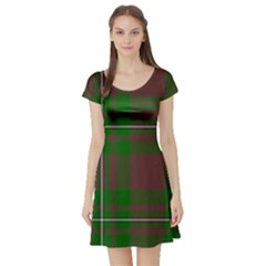 Cardney Tartan Fabric Colour Green Short Sleeve Skater Dress