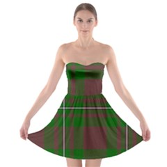 Cardney Tartan Fabric Colour Green Strapless Bra Top Dress by Jojostore