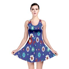 Flower Floral Flowering Leaf Blue Red Green Reversible Skater Dress