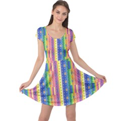 Psychedelic Carpet Cap Sleeve Dresses