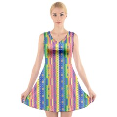 Psychedelic Carpet V Neck Sleeveless Skater Dress
