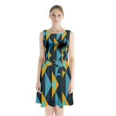 Yellow Blue Triangles Pattern                                  Sleeveless Waist Tie Dress by LalyLauraFLM