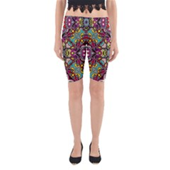 Traitional Floral Purple Yoga Cropped Leggings by Brittlevirginclothing
