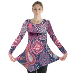 Colorful Bohemian Purple Leaves Long Sleeve Tunic  by Brittlevirginclothing