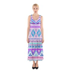 Tribal Pastel Hipster  Sleeveless Maxi Dress by Brittlevirginclothing